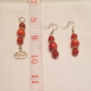 🍁 Fun orange earring and pendant set